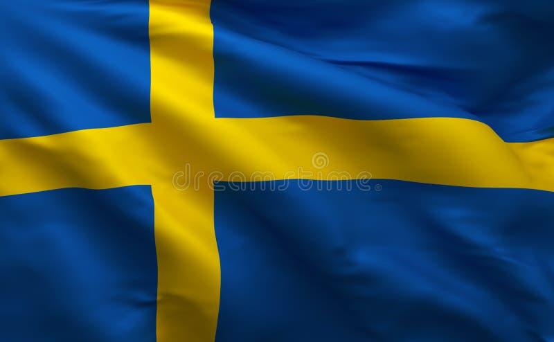La bandiera svedese, Svezia colora 3D per rendere illustrazione di stock