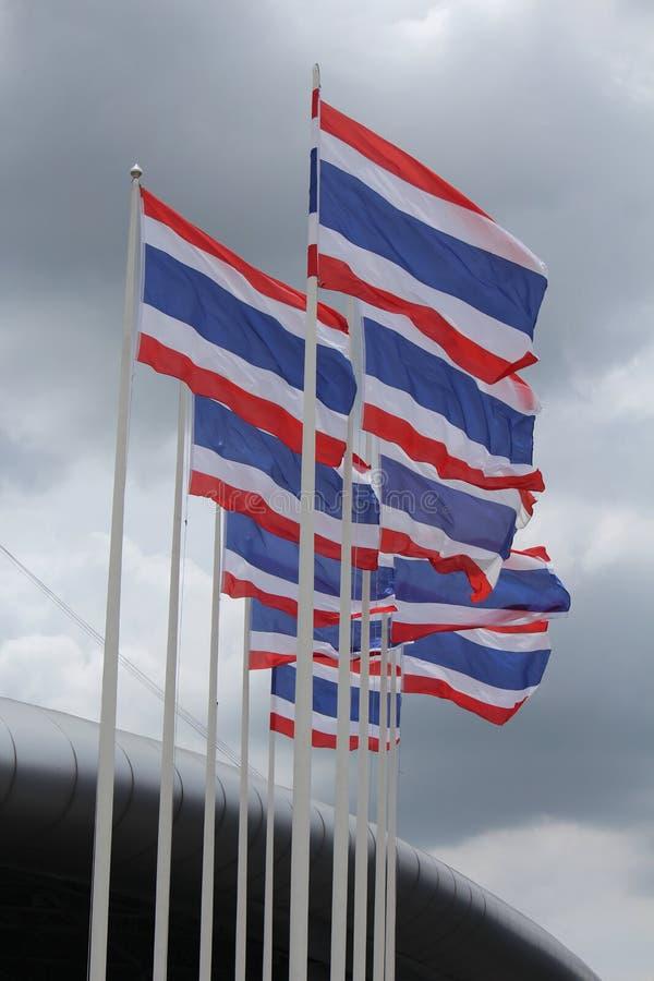 La bandiera tailandese dieci sta ondeggiando fotografia stock libera da diritti