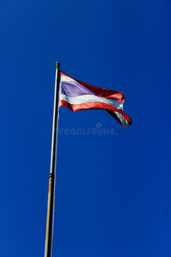 La bandiera thailandese sventola con un'asta alta con sfondo azzurro foto immagine stock