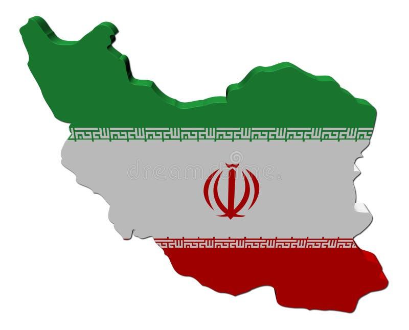 La bandierina 3d del programma dell'Iran rende illustrazione di stock