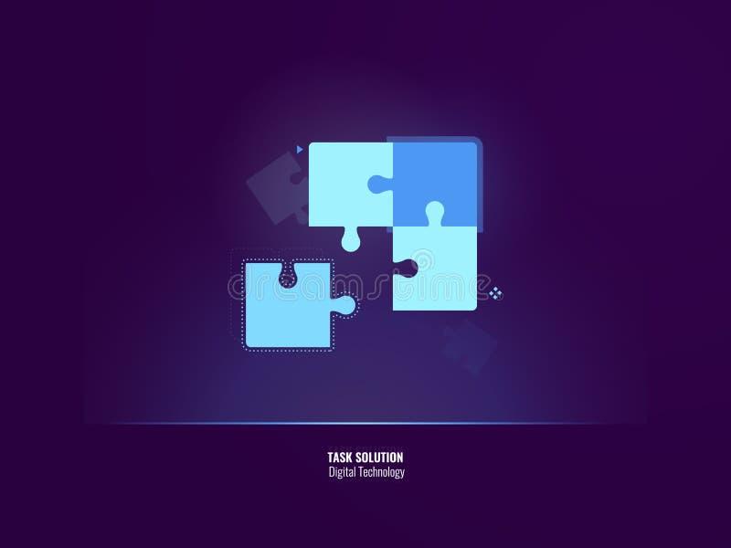 La bannière au néon de solution impressionnante de tâche, à quatre parties du puzzle viennent ensemble, concept d'affaires de tra illustration de vecteur