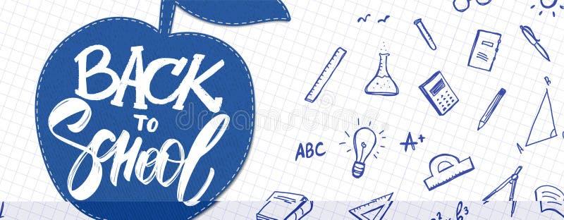 La bannière avec le lettrage tiré par la main de nouveau à l'école, pomme et gribouille des approvisionnements sur la feuille de  illustration stock