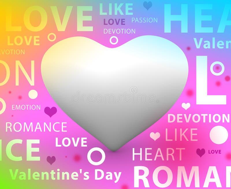 La bannière 3D d'amour rendent + typographie illustration libre de droits
