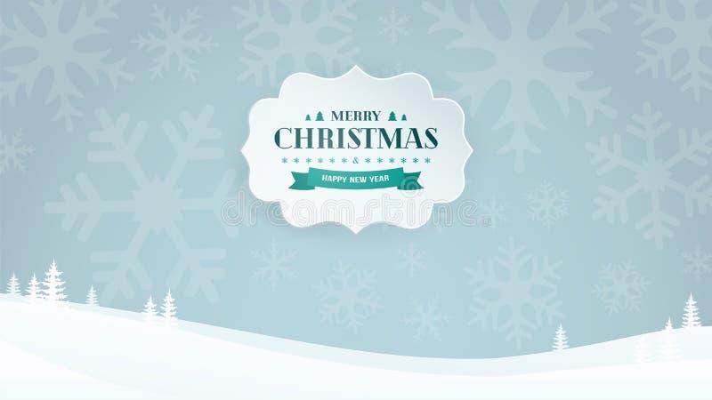 La bannière 3D de papier avec le vintage typographique de Noël et de nouvelle année badge sur le fond de paysage d'hiver avec des illustration stock