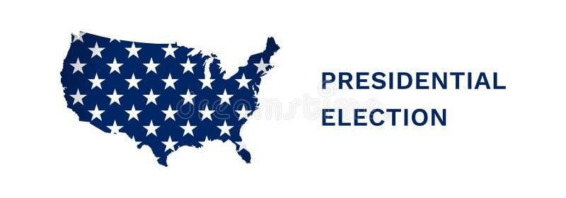 La bannière d'illustration de vecteur avec les Etats-Unis tracent Pièce d'étoiles de drapeau américain Élection présidentielle en illustration libre de droits