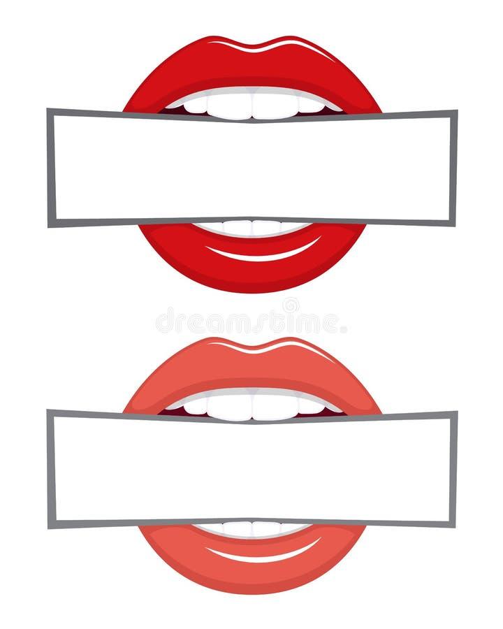 La bannière dans les dents dirigent l'illustration d'isolement sur le blanc illustration libre de droits