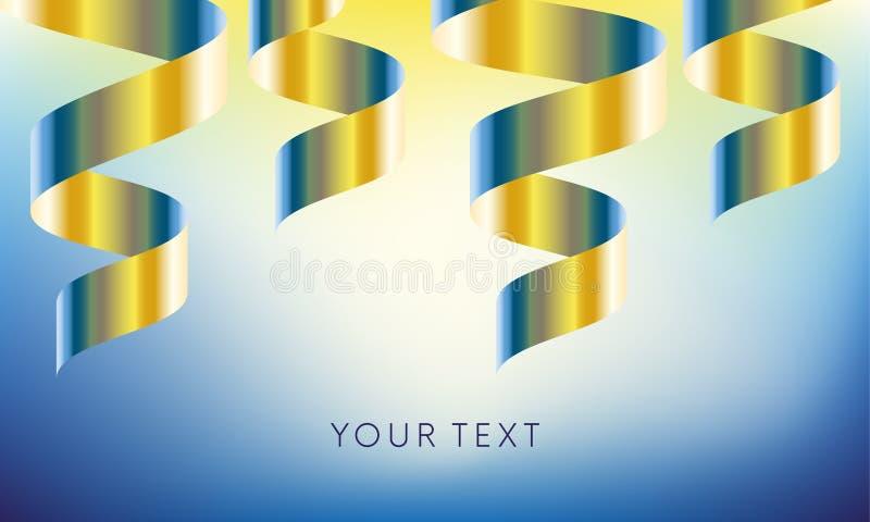 La bannière de célébration avec de l'or et le gradient bleu colorent le ruban sur le fond bleu Illustration de vecteur illustration de vecteur