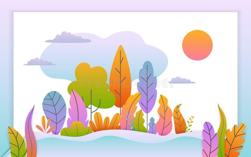 La bannière de chute d'automne avec le gradient abstrait a coloré le fond de feuilles d'arbres d'imagination illustration stock