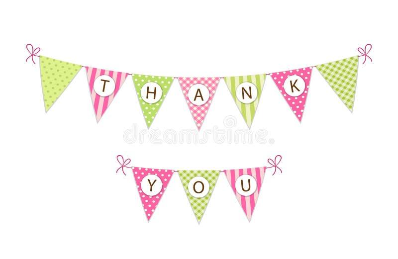 La bannière de fête de fanion de tissu de vintage mignon comme drapeaux d'étamine avec des lettres vous remercient dans le style  illustration libre de droits