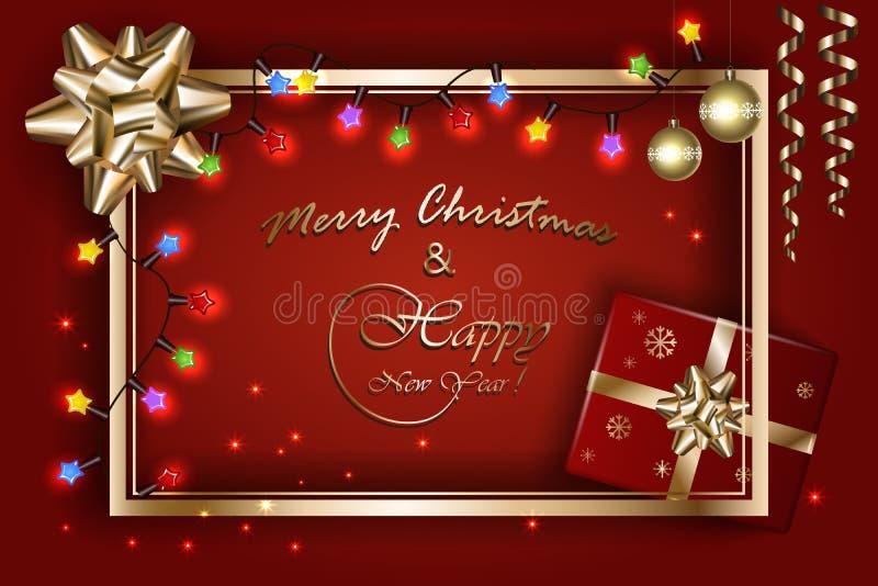 La bannière de Joyeux Noël et de nouvelle année, dirigent les lumières de scintillement avec l'arc d'or, le ruban, les étoiles, l illustration libre de droits