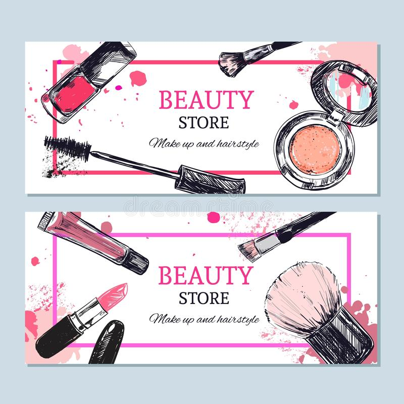 La bannière de magasin de beauté avec composent des objets : rouge à lèvres, crème, brosse illustration libre de droits