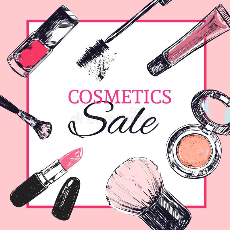 La bannière de magasin de beauté avec composent et des objets de cosmétiques illustration de vecteur