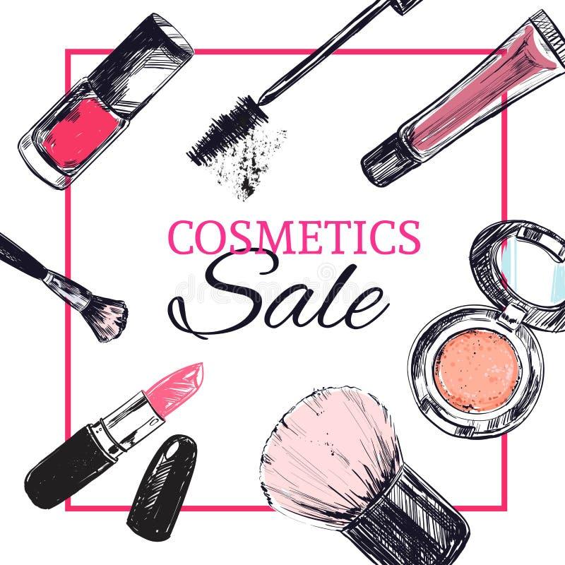 La bannière de magasin de beauté avec composent et des objets de cosmétiques : rouge à lèvres, crème, brosse illustration libre de droits