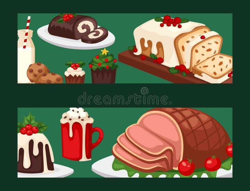La bannière de nourriture de Noël et l'hiver de fête traditionnel de vecteur doux de célébration de Noël de décoration de vacance illustration de vecteur