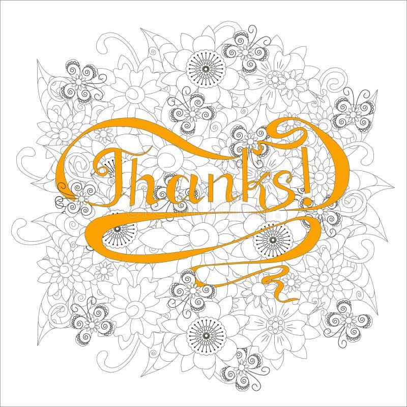 La bannière de typographie remercie, tourbillonne lettrage orange tiré par la main sur le fond gris de fleurs d'ensemble illustration stock