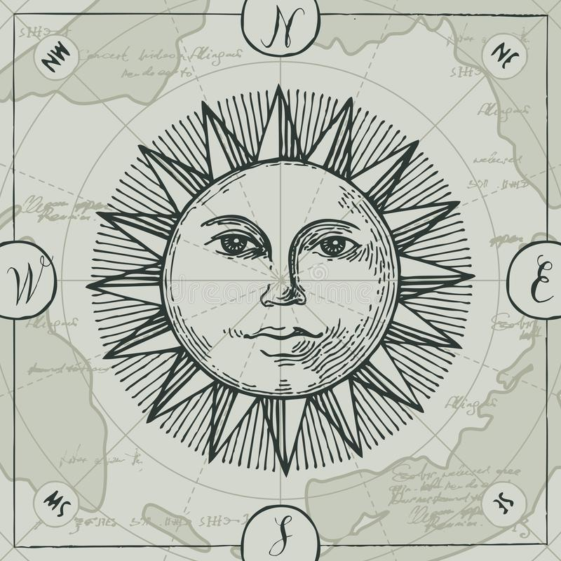 La bannière de vecteur avec le signe du soleil et du vent s'est levée illustration stock