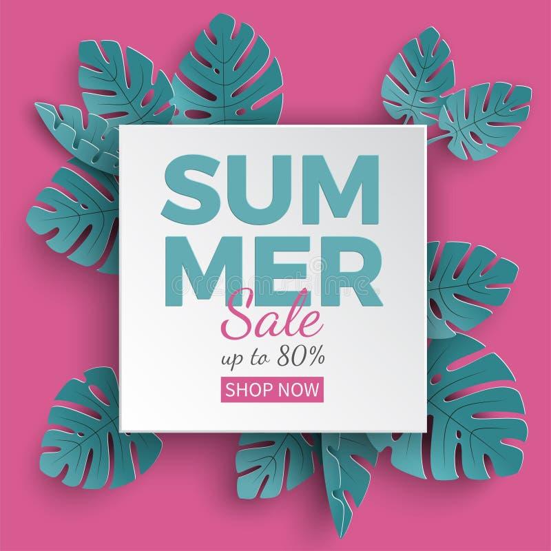 La bannière de vente d'été avec le papier a coupé le cadre et les plantes tropicales sur le fond vert, conception florale pour la illustration de vecteur