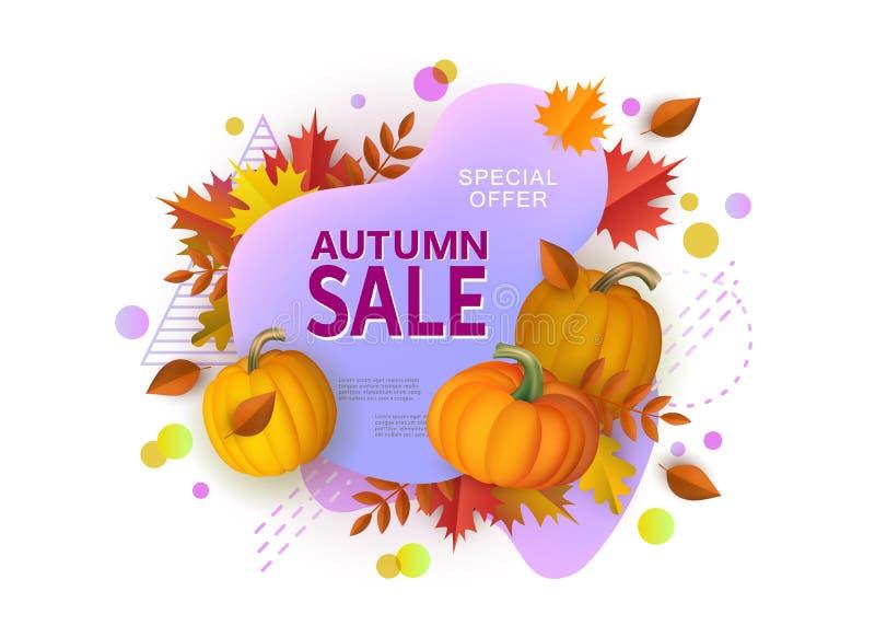 La bannière de vente d'automne avec des formes géométriques et les potirons dirigent l'illustration d'isolement illustration libre de droits