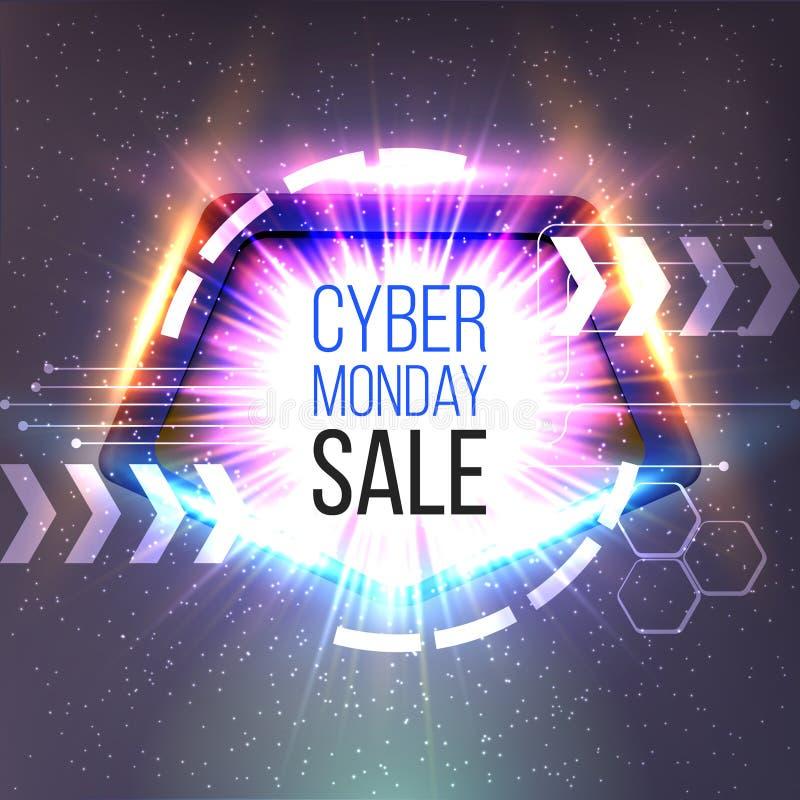 La bannière de vente de lundi de Cyber avec le cadre et rougeoyer rayonne illustration stock