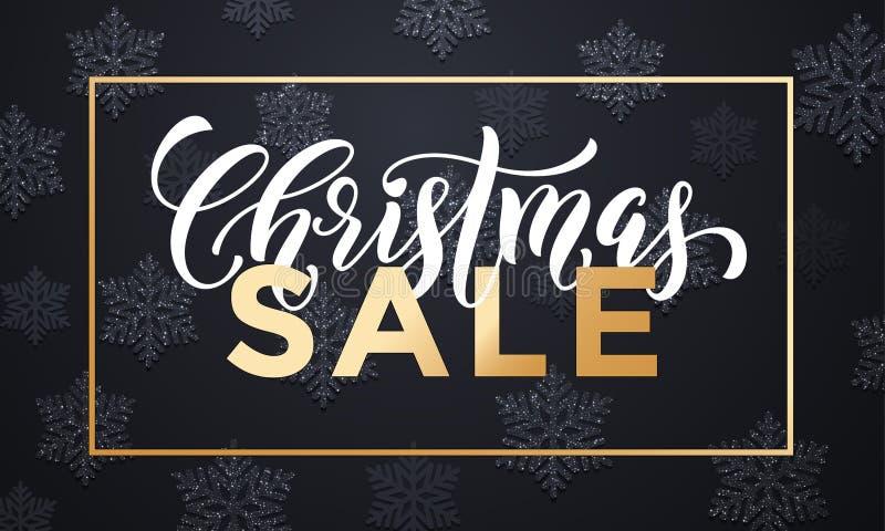La bannière de vente de Noël avec des flocons de neige modèlent la renommée d'or illustration libre de droits