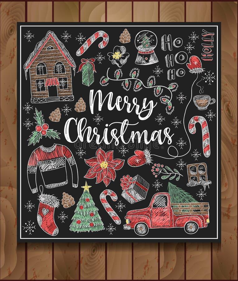 La bannière du Joyeux Noël avec des éléments peints a coloré la craie sur le tableau noir Vecteur illustration libre de droits