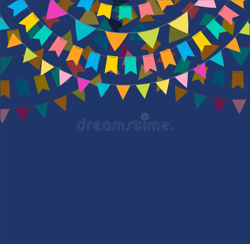 La bannière et l'affiche de fiesta conçoivent avec des drapeaux, décorations illustration de vecteur