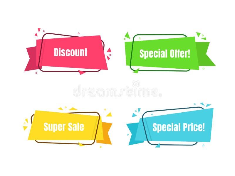 La bannière moderne de couleur a placé le concept d'achats de vente d'offre spéciale Vecteur illustration libre de droits