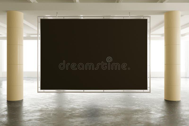 La bannière noire vide dans moderne vident le bureau de l'espace ouvert de grenier avec b photographie stock