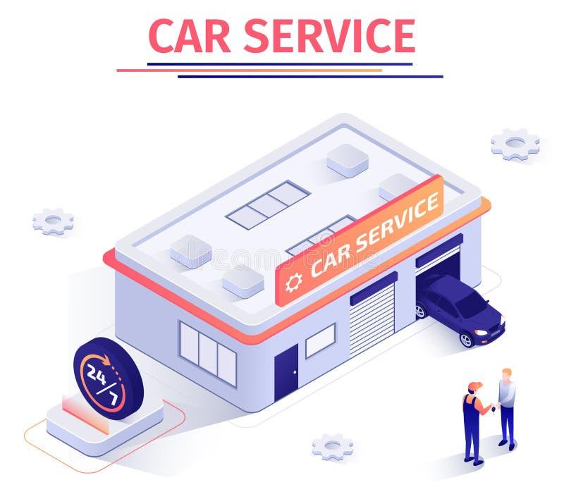 La bannière offre le service des réparations 24 heures sur 24 de voiture illustration libre de droits