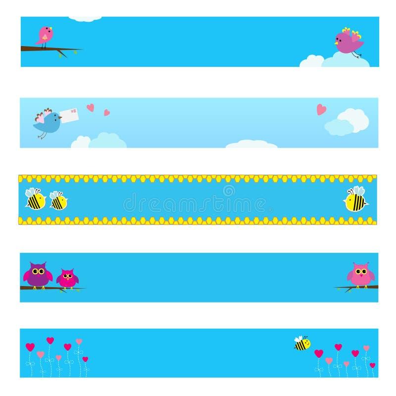 La bannière a placé avec l'oiseau, l'abeille, le hibou et les fleurs illustration de vecteur