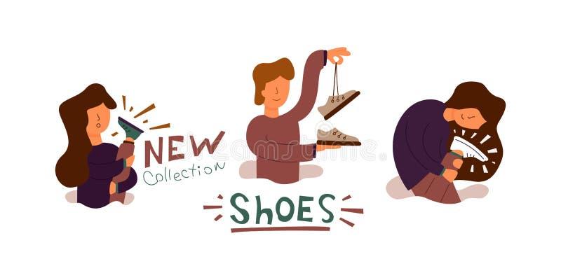 La bannière plate de vecteur a acheté de nouvelles chaussures fraîches illustration stock