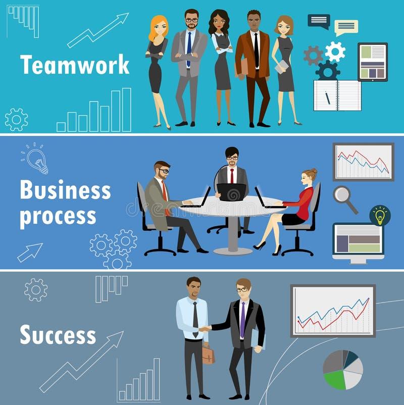 La bannière plate a placé avec le travail d'équipe, le processus d'affaires et le succès illustration de vecteur