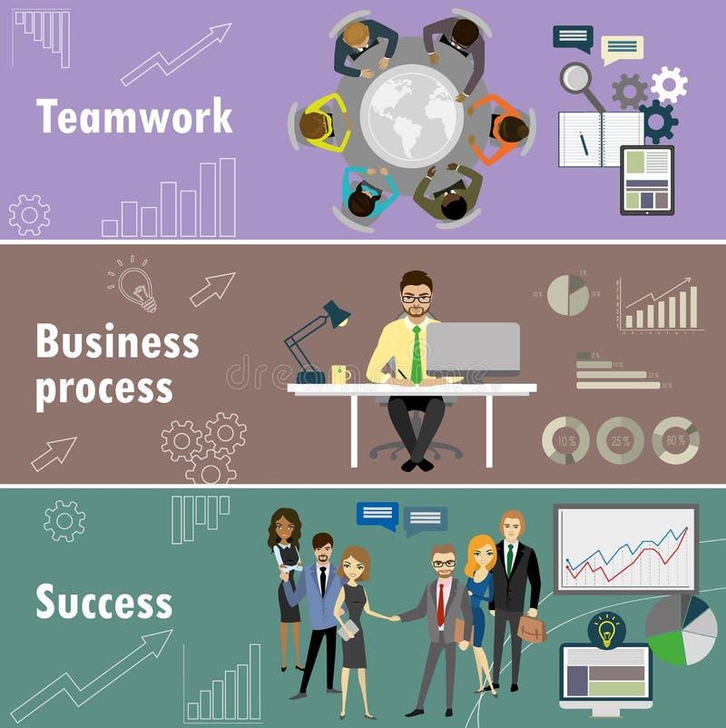 La bannière plate a placé avec le travail d'équipe, le processus d'affaires et le succès illustration libre de droits