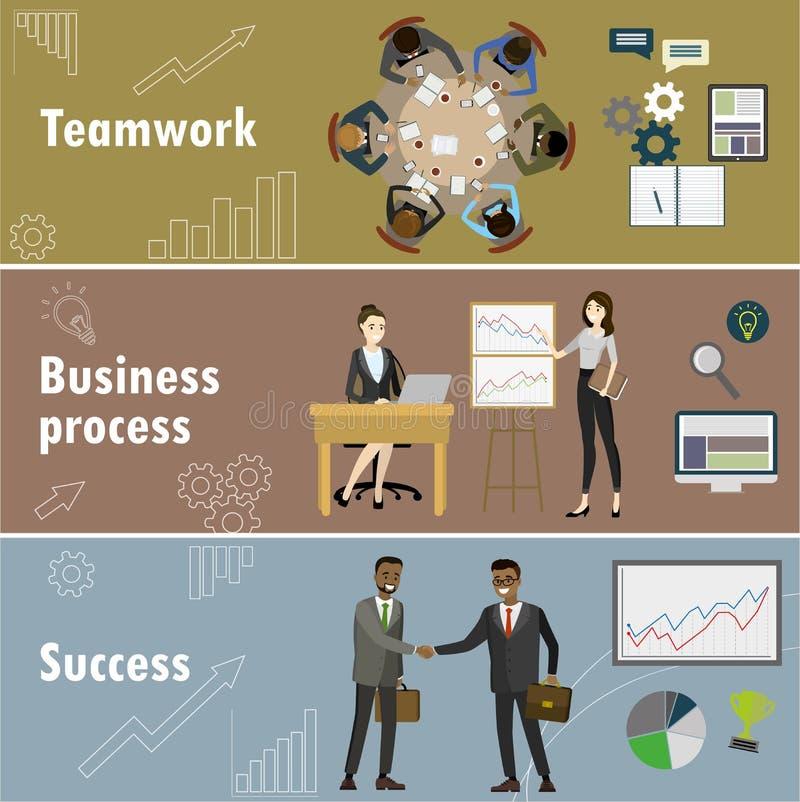 La bannière plate a placé avec le travail d'équipe, le processus d'affaires et le succès illustration stock