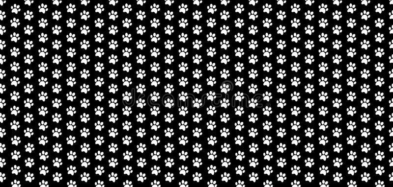 La bannière sans couture de rectangle avec la patte blanche d'animaux imprime sur le fond noir illustration stock