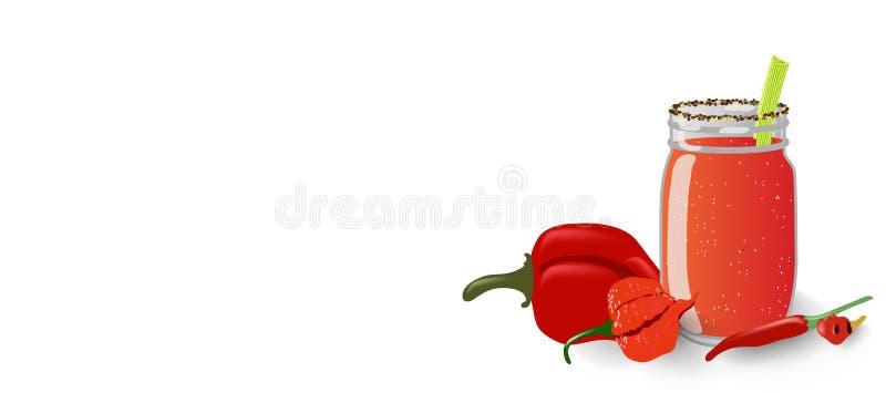 La bannière tirée par la main de vecteur avec le pot en verre de maçon avec le smoothie et les poivrons épicés rouges de santé, c illustration libre de droits