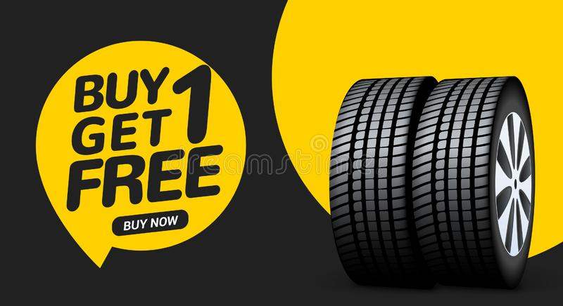 La banni?re de vente de pneu de voiture, l'achat 1 obtiennent 1 libre Fond de promo d'insecte de service de pneu de voiture La pu illustration stock