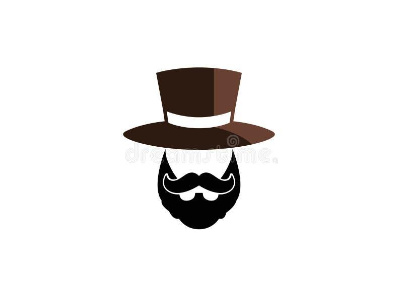 La barba y el bigote con un sombrero en van al ejemplo del diseño del logotipo en un fondo blanco libre illustration