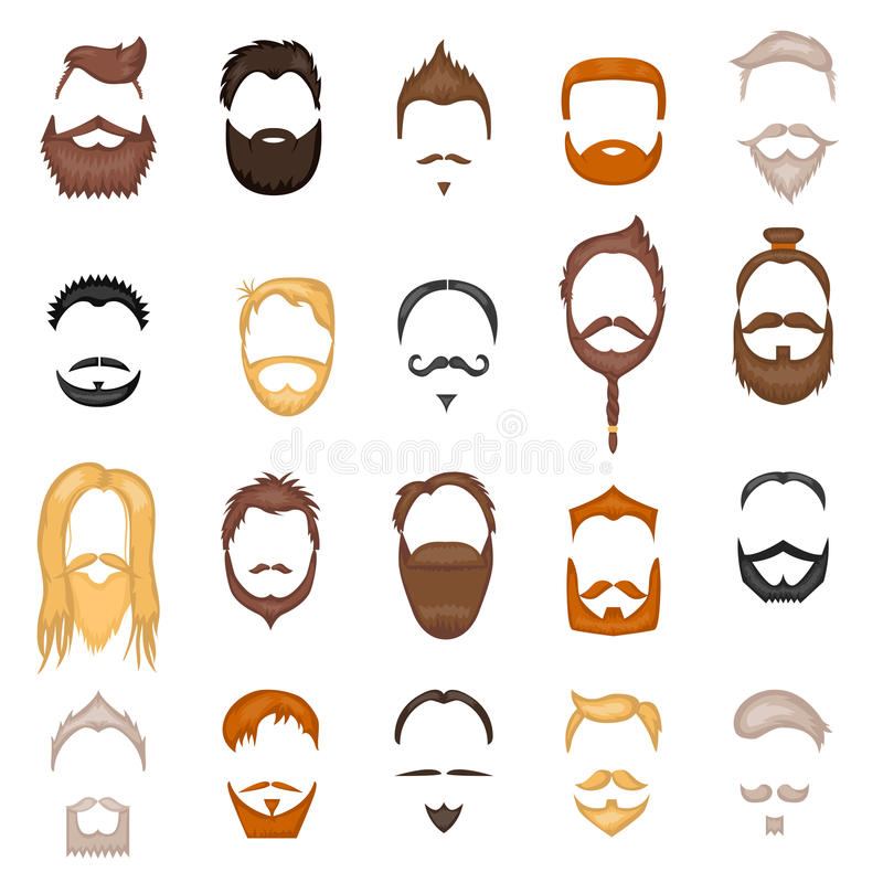 La barba y el pelo sirven la colección del vector de la historieta del peinado de la mascarilla ilustración del vector