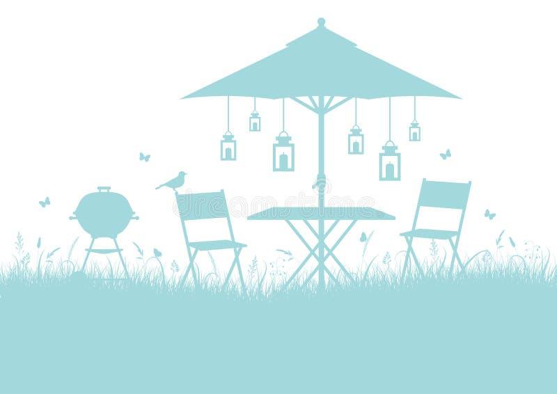 La barbacoa del jardín del verano siluetea la turquesa horizontal del fondo ilustración del vector