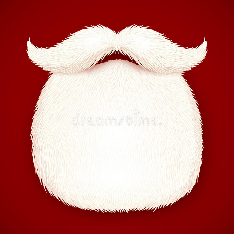 La barbe de Santa réaliste d'isolement sur le fond rouge illustration de vecteur