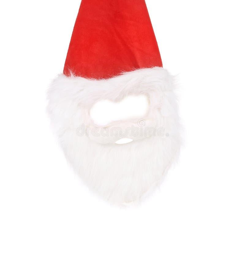 La barbe et le masque de Santa blanche. photographie stock