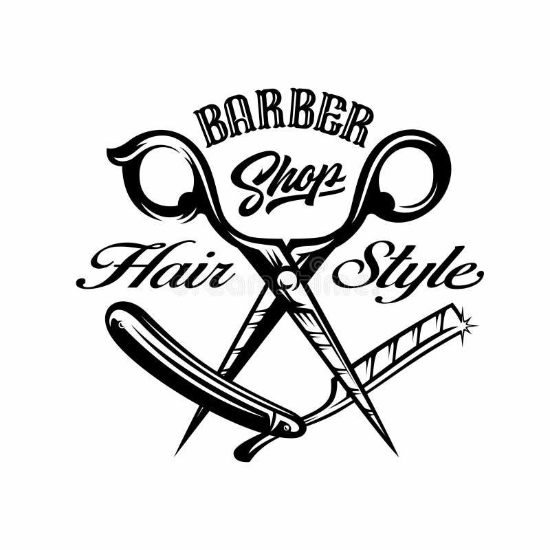 La barbería scissor y el ejemplo de la etiqueta del vintage de la hoja de afeitar stock de ilustración