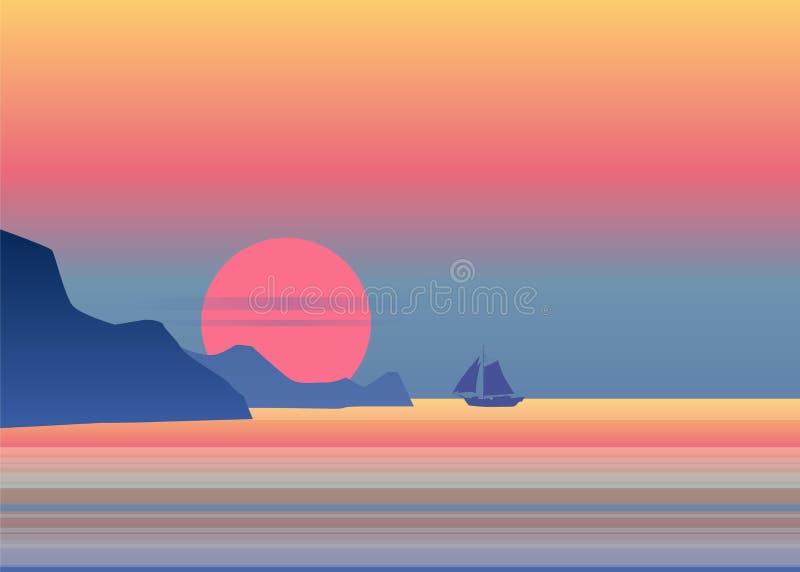 La barca a vela di luce della luna di notte sull'orizzonte blu dell'oceano del mare, il fondo di vettore, roccia, navigante l'ill illustrazione vettoriale