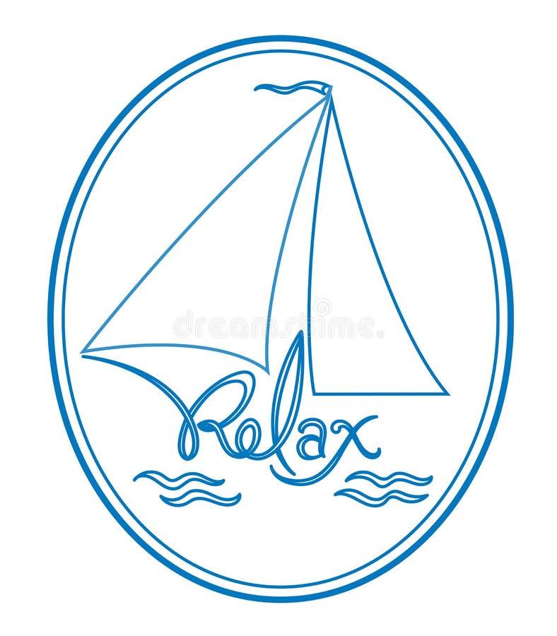 La barca a vela sulle onde si rilassa il logo royalty illustrazione gratis