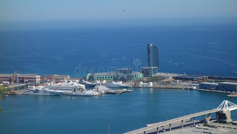 La Barcellona-Spagna 28 marzo 2017 - vista dal ove del castello di Montjuic fotografie stock