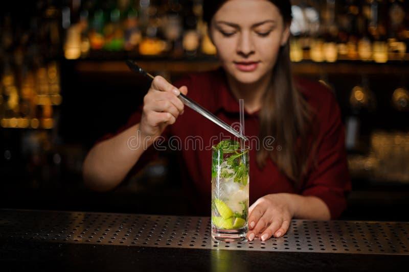 La barmaid i ajoute au tuba de cocktail de mojito de cocktail d'alcool image stock