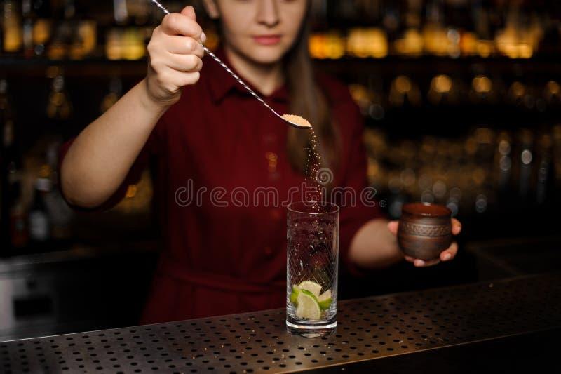 La barmaid prépare un mojito dans un verre cristal image libre de droits