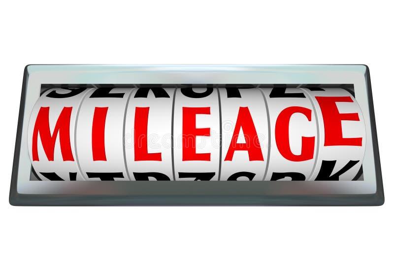 La barra del dial de Odomoter de la palabra del kilometraje sigue uso de combustible stock de ilustración