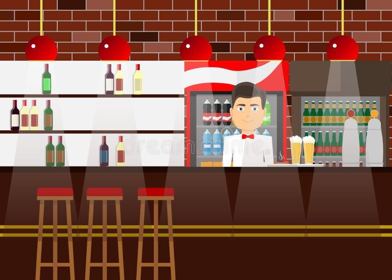 La barra di scaffale con un barista, l'alcool, beve Contatore di Antivari illustrazione vettoriale